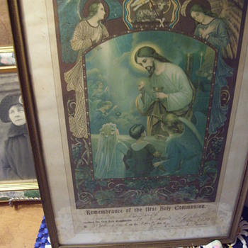 1922 Ist Communion,Paperwork framed. Jesus, Angels and Children, 14X 10,  Rapid City Illinois - Visual Art