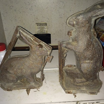 Metal, Hinged, Vintage Chocolate Easter Bunny Molds  - Kitchen