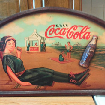wooden coke sign - Coca-Cola