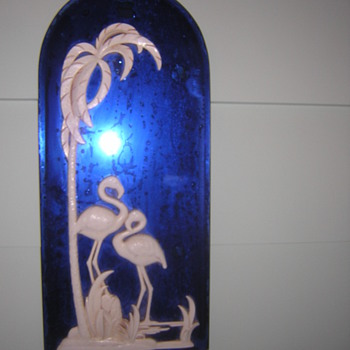 Flamingo cobalt mirror  - Art Deco