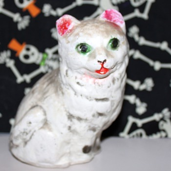 White chalkware cat?
