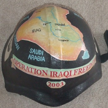 Trench Art Painted Iraqi Fedayeen Helmet (OIF)