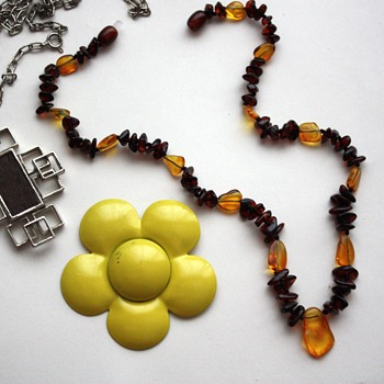 Amber necklace and egyptian revival necklace