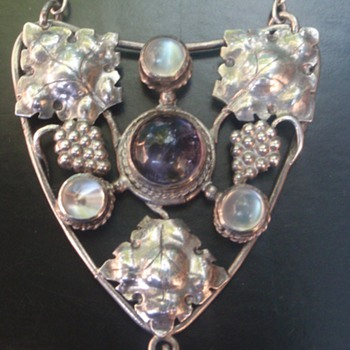 Arts & Crafts Amethyst & Moonstone Pendant - Arts and Crafts