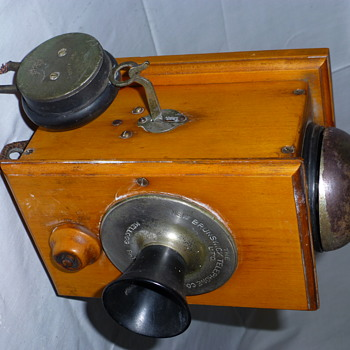 1900 Kellogg Intercom Telephone, Wood Box, Bakelite Knobs and Speaker
