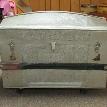 1870's pure zinc embossed metal trunk