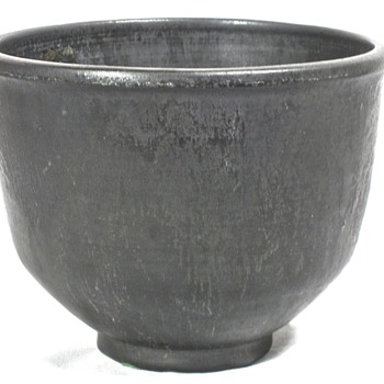 Black Glazed Footed Pottery Bowl