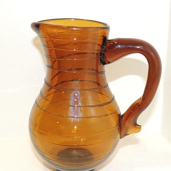 18th Century Amber Glass Pitcher - Possibly Southern New Jersey - Glassware