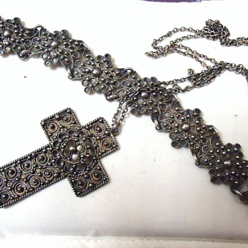 sterling Jewelry, Cross, Bracelet, From? and Mexico Amber, Amethyst ear rings 1930's