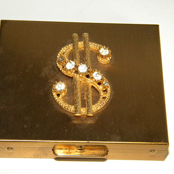 Vintage Deco Rhinestone Ladies Money Holder Goldtone