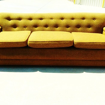Mid-Century Orange Sofa - Furniture