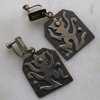 Mid-century Mexico dancing demon? earrings