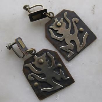 Mid-century Mexico dancing demon? earrings