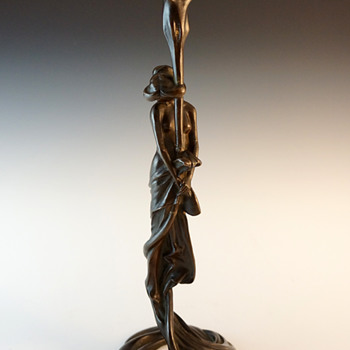 1900 Paris Gustav Gurschner Bronze Lamp Base - Art Nouveau
