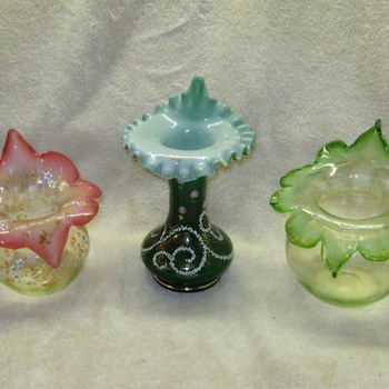 3 BOHEMIAN JACK IN THE PULPITS  - Art Glass