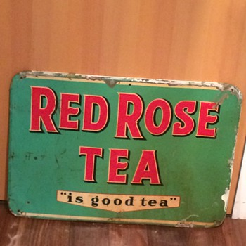 VINTAGE RED ROSE TEA METAL ADVERTISING SIGN! 1960's!!