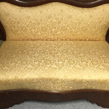 Antique Yellow Silk Loveseat - Furniture