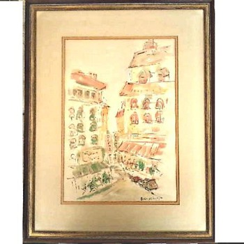 "Alex Deray ""Impressions of Paris"" /23 1/2"" x 18 1/2""  Framed /Watercolor on Paper/ Circa 1975 - Fine Art"