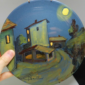 Mid/Mod ITALIAN Ceramic Plate - Signed - Handpainted Art Pottery