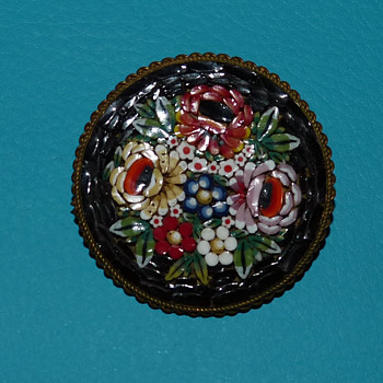Vintage Floral Mosaic Brooch - Made in Italy - Costume Jewelry