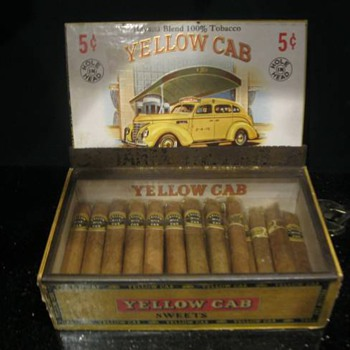 Yellow Cab Cigars, Box, And glass Display Cover - Tobacciana