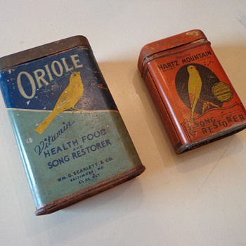 Vintage Hartz Mountain Bird and Oriole Song Restorer Tins - Advertising