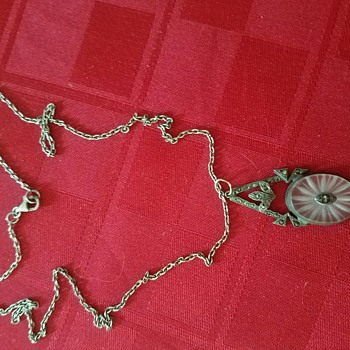Lovely Vintage Marcasite and Camphor Glass Art Deco Pendant  - Costume Jewelry