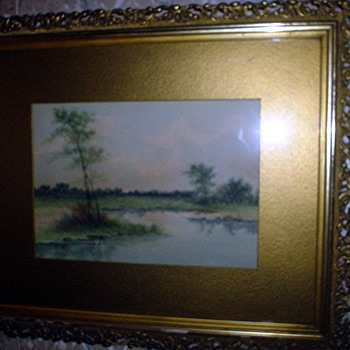 Watercolor landscape signed Condon - Folk Art