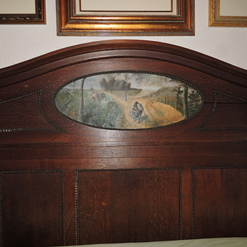 "Antique Headboard and Marble Top Dresser with ""Painting"" inserts"