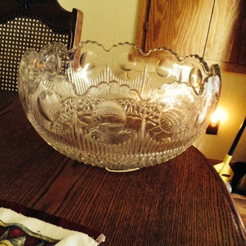 Mom has this Very old depression glass Punch bowl