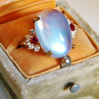 Huge Antique Ceylon Moonstone & Retro Ruby Diamond 18k Mounting For WPJ
