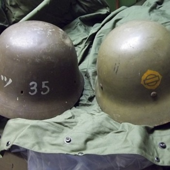 Japanese civil defense and naval engineer helmets - Military and Wartime