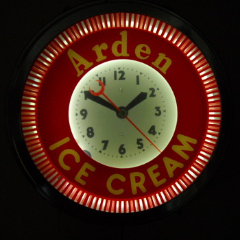 Vintage Arden Dairy Ice Cream Spinner CLock - Clocks