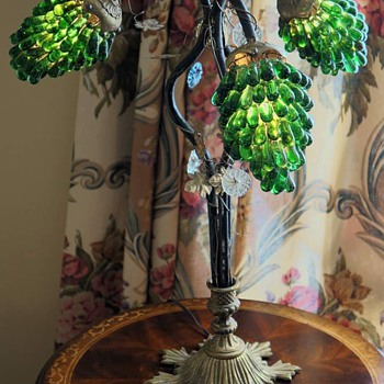 Antique Lamp with Emerald Green Glass
