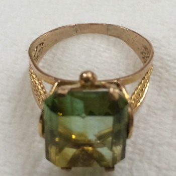 Large Gold and Peridot Ring