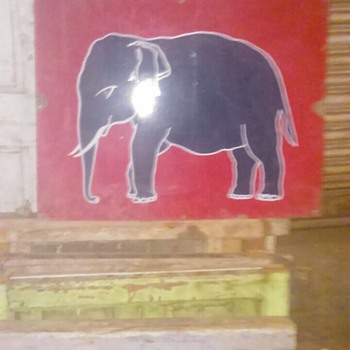"Vintage Esso elephant oil gas pump enamel porcelain sign  Size 24"" inch X 30 inch  - Signs"