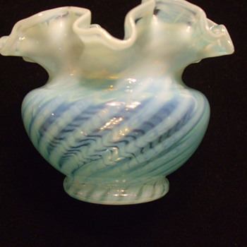 Blue Opalescent SWIRL Pattern Crimped/Fluted VASE- Fenton? - Art Glass