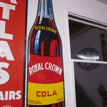 1940's Royal Crown Cola Tin Embossed Die Cut Sign - Signs