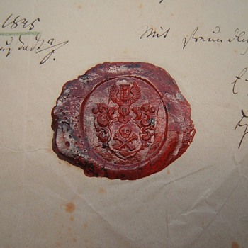 1845 MEMENTO MORI SKULL CROSSBONES ARMORIAL WAX SEAL ON DOCUMENT - Paper