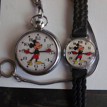 English Mickey Mouse Pocket and Wrist Watches - Wristwatches