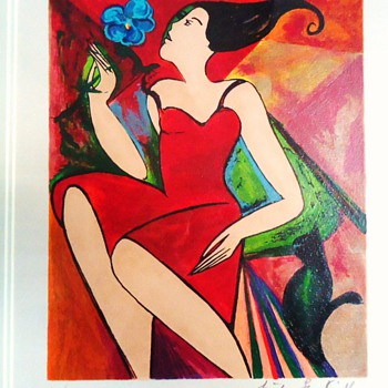 Linda Le Kinff print,   19&quot; X 21&quot; with frame,  9&quot; X 10&quot;  without frame