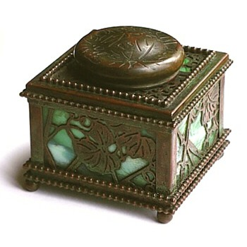 Tiffany Bronze &amp; Glass Inkwell - Art Glass