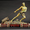 1920s Signed Alexandre Ouline Sculpture Youth Pulling a Stump