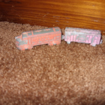 pot metal train and firetruck