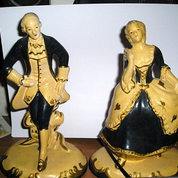George & Martha Washington Figurines - Art Pottery