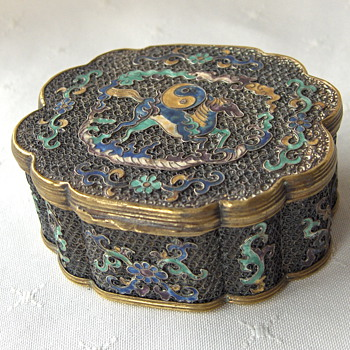 Frenchman's Estate Cloisonne Collection - Small Desk Top Silver Filigree Box - Asian