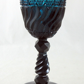 Blue Cut Glass Goblet