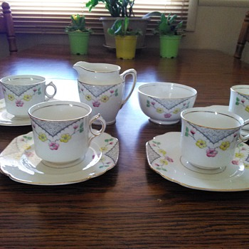 Rare Rosina of England Set of 4-Cup & Saucer, Creamer and Sugar Bowl