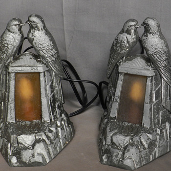 1915-20s Pair of Lovebird Mantle Lamps.