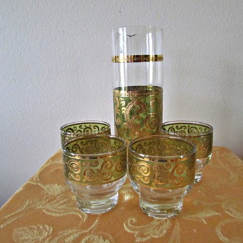 Culver Glass Bar Set in the Toledo Pattern - Glassware